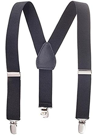 """Solid Color Kids and Baby Elastic Adjustable Suspenders -Black (Size 22"""")"""