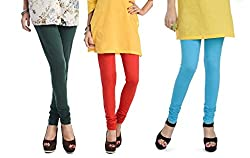 Rupa Softline Blue and Orange and Bottle Green Cotton Leggings Combo (Pack Of 3)