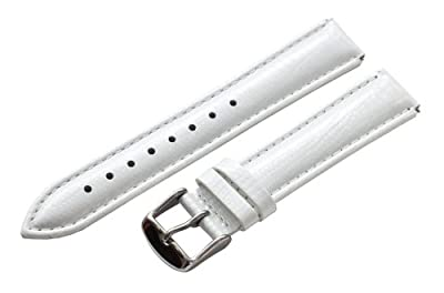 12mm White Lizard Watch Band / Strap Fits the Philip Stein Mini (Built in Quick Release Pins!) from Clockwork Synergy, LLC