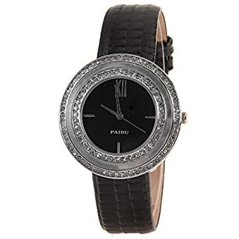 58938-1 Black Luxury Double Circle Diamond Ancient Rome Digital Watches with Snakeskin Pattern Genuine Leather Strap