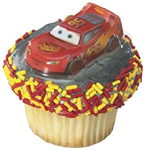 Disneys Cars Lightning McQueen 12 Cupcake Cake 3-D Layon Toppers Decorations