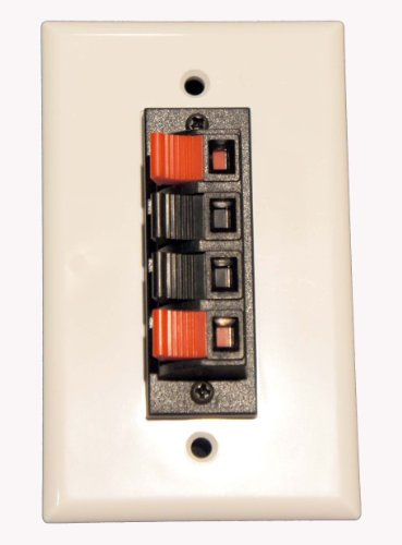 Pi Manufacturing Spring Clip Wall Plate For Audio Speaker Wires With 4 Terminal