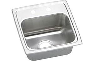 Elkay BLR15163 Gourmet Lustertone Single Bowl Sink with Three Holes, Stainless Steel