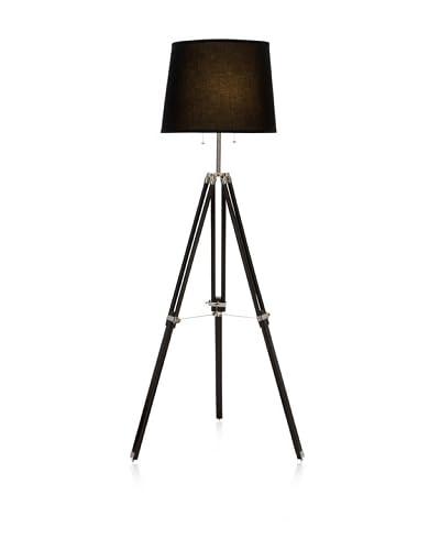UMA Wood/Metal Floor Lamp, Black/Silver