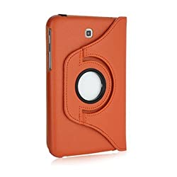 BMS 360 Degree Rotating Leather Smart Cover Case Stand for Samsung Galaxy Tab 3 Neo 7 inch T111 (Orange)