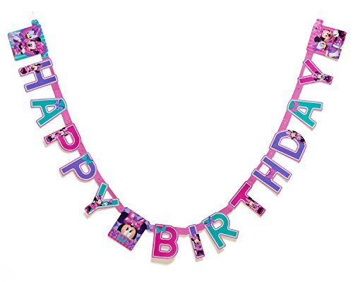 Cheap Minnie Mouse Bow-Tique Birthday Party Banner, Party Supplies