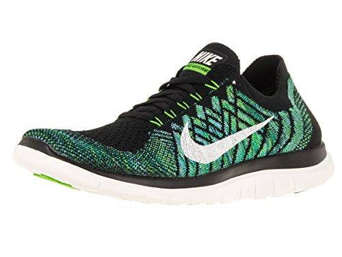 Nike Damen Wmns Free 4.0 Flyknit Laufschuhe, Black (Schwarz / Segel-Vltg Grün-Lcky Grn), 40 1/2 EU