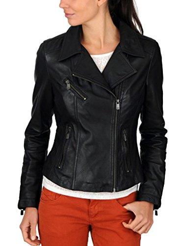 Exemplar Women's Genuine Lambskin Leather Moto Jacket Black LL807 3XL