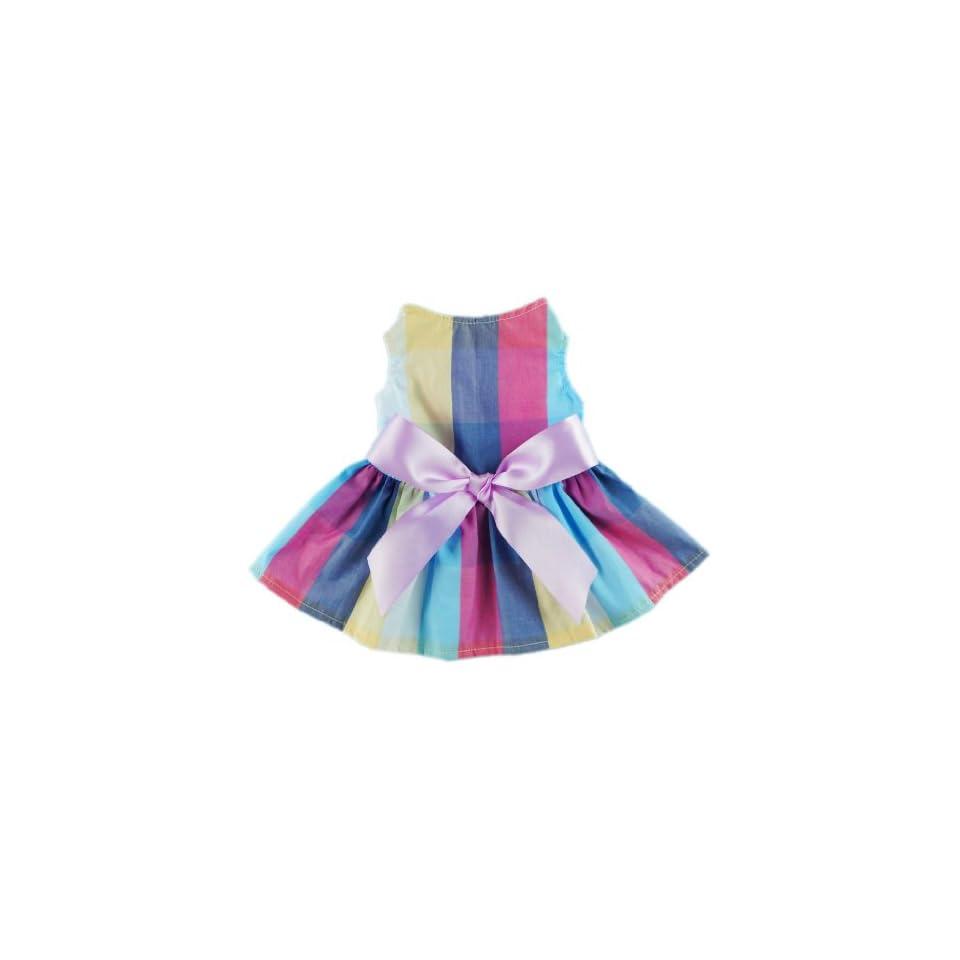 Fitwarm Adorable Rainbow Ribbon Dog Dress Dog Shirt Dog Clothes Pet Dress, Small