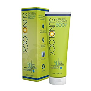 Sunology Natural Sunscreen for Body SPF 50, Broad Spectrum, Zinc Oxide & Titanium Dioxide Active Ingredients, 2 Ounces