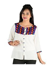 Parinita White Color Cotton Kurti For Girls