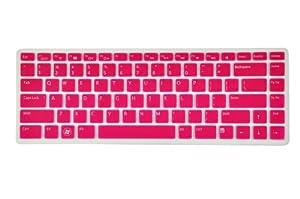 Silicone Laptop Keyboard Cover Skin Protector for Dell XPS L502 L502x, Inspiron M5040 N5040 N5050 N4110 N4120 N4050 N411z 7520 5420, Vostro 3350 V3350 3450 V3450 V3460 3550 3555 V1440 V1450 V131 US Layout (Rose Red Semitransparent)