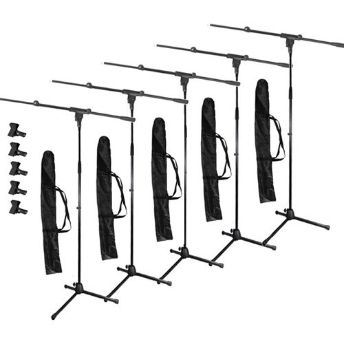 Podium Pro Adjustable Steel Microphone Stands, Booms, Clamp Clips And Bags 5 Stand Set Ms2Set10-5S
