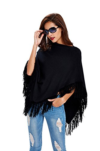 Tassel Pullover Sweater Solid Color Women's Cape Knit Cardigan - Black - One Size