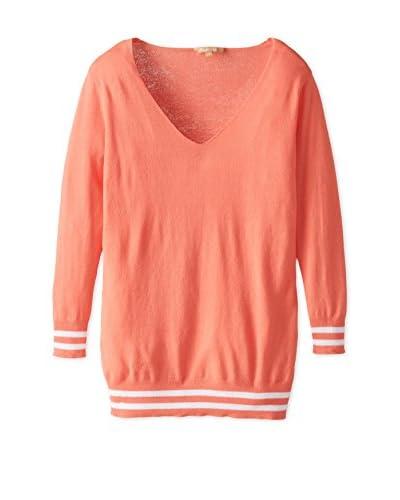 Kier & J Women's V-Neck Sweater  [Coral/White]