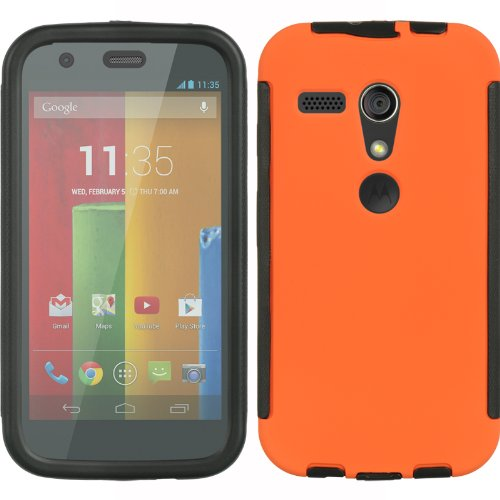 Toperk Ultra Pro Case With Rubber Side Grip For Motorola Moto G (Include A Cystore Stylus Pen) - Black/Orange front-791965