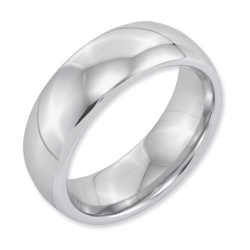 White Dura Tungsten 8mm Polished Band, Size 10.5