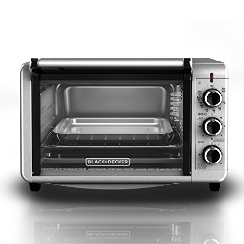BLACK+DECKER TO3210SSD 6-Slice Convection Countertop Toaster Oven, Includes Bake Pan, Broil Rack & Toasting Rack, Stainless Steel/Black Convection Toaster Oven (Small Space Toaster Oven compare prices)