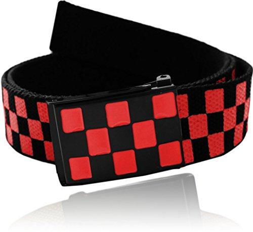 "Eurosport Check / Checkered Pattern Cotton 48"" Canvas Web Belt - WB2830 - Black / Red"