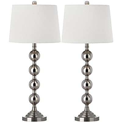 Safavieh Lighting Collection Stacked Gazing Ball Nickel 32.5-inch Table Lamp (Set of 2)