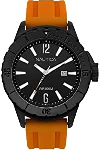 Nautica Men's Quartz Watch with Black Dial Analogue Display and Orange Resin Strap A15602G