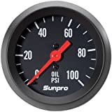 Sunpro CP8216 StyleLine Mechanical Oil Pressure Gauge - Black Dial