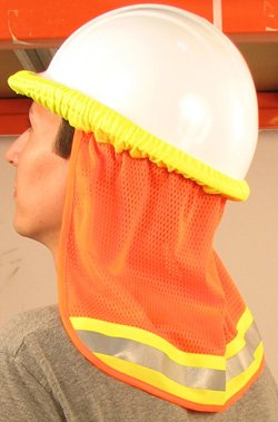 Neck Sun Shield For Hard Hats Hi Visibility Mesh - Hi Viz Orange
