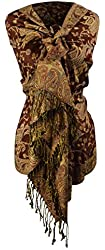 Peach Couture Reversible Paisley Pashmina Shawl Wrap in Elegant Colors