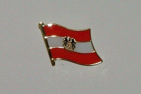 Flaggen-Pin vergoldet : Oesterreich mit Adler / Österreich mit A
