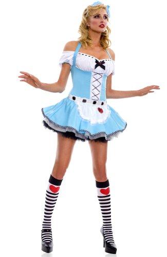 Three Piece Halter Off Shoulder Alice Sexy Costume w/ Headband Knee Hi Halloween Costume Cosplay - Small / Medium