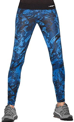 Haby Women Leggings Fitted Pants Running Tights Wide Waistband 61400 BLUE S