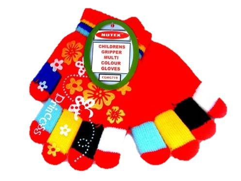 KIDS RED MAGIC ONE SIZE FIT MOST GLOVES WITH FLOWER GRIPPERS child girl children