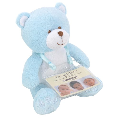 Babies R Us Plush 7 inch Bear with Gift Card Holder - Blue - 1