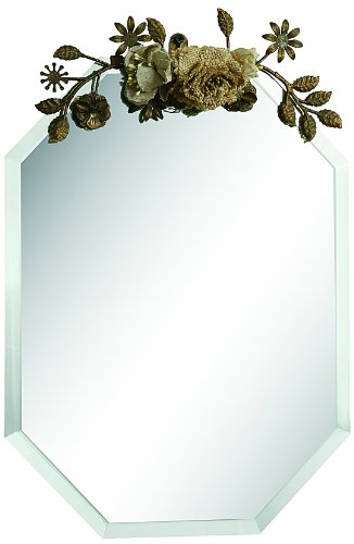 Creative Co-Op Beveled Glass Mirror With Metal And Fabric Flower Top front-962264