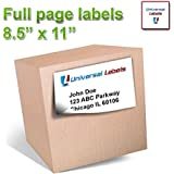 "100 Universal Labels® - Full Page Shipping Labels - Heavyweight label that will works in all Laser & Inkjet Printers, 8.5"" x 11"" Inch Label, Vertically Slitted on Back for Easy Peeling - Matte White - 100 sheets"
