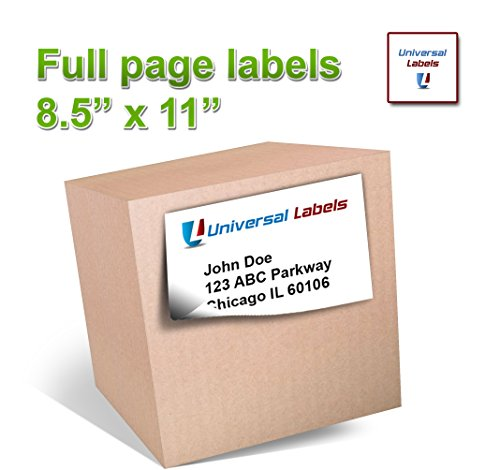100 Universal Labels® – Full Page Shipping Labels – Heavyweight label that will works in all Laser & Inkjet Printers, 8.5″ x 11″ Inch Label, Vertically Slitted on Back for Easy Peeling – Matte White – 100 sheets