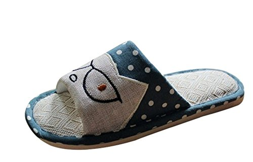 Bronze Times(TM) Unisex Premium Cartoon Cat Polka Dots Flax House Slipper (blue S)
