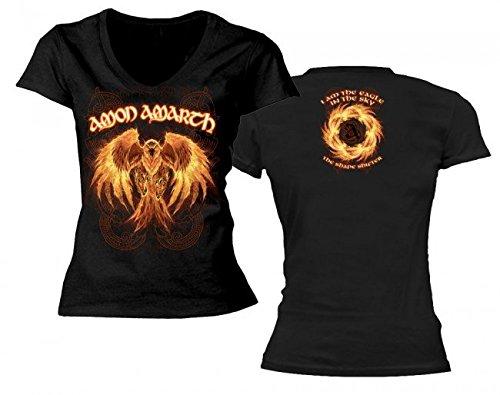Amon Amarth-Burning Eagle-Maglietta con collo a V, da donna nero X-Large