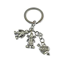 Sarah Metal Key Chain For Unisex (Silver)