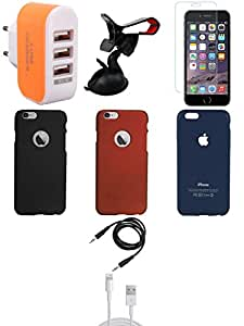 NIROSHA Tempered Glass Screen Guard Cover Case USB Cable Mobile Holder Charger for Apple iPhone 6 - Combo