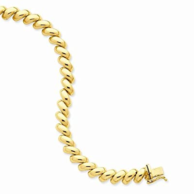 """Solid 14k Yellow Gold Polished San Marco Necklace Chain 17"""""""