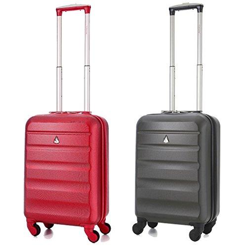 """Aerolite guscio duro di 4 ruote Spinner superleggeri mano bagaglio a mano valigia di corsa ( 21 """" , 55cm, 33Ll ) - Adatto a tutte le maggiori compagnie aeree, tra cui Ryanair e Easyjet (Vino + Carbone)"""