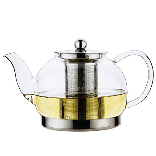Toyo Glass Teapot with Stainless Steel Lid, Large, 42 oz (Tea Pot Induction compare prices)