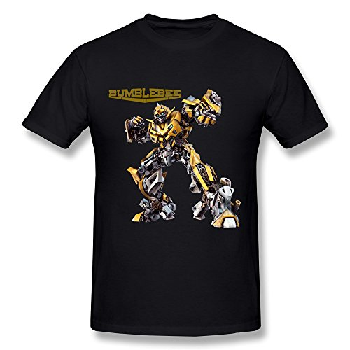 CaiTian Men's Film Transformers Bumble Bee T-Shirt - Nerd T Shirt Black US Size L