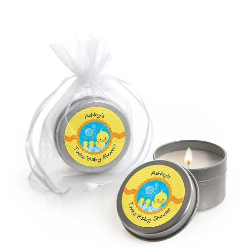 Twin Ducky Ducks - Personalized Baby Shower Candle Tin Favors front-800626