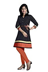 Sanvari Fashion Balck colore Designer anrkali short kurtis (sw-01_black_L)