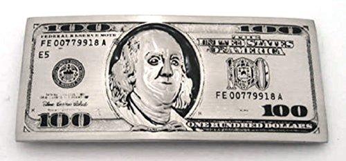 Usa Currency 100 Dollar Money Bill Silver Die Cut Belt Buckle.