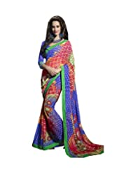 Triveni Multi Colored Fancy Motif Printed Saree 62012b