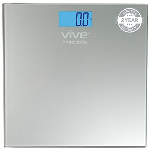 Digital Bathroom Scale by Vive Precision – Best Selling, Accurate Weight Scale – 2 Year Warranty (Silver)