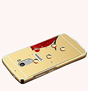 Aart Luxury Metal Bumper + Acrylic Mirror Back Cover Case For Lenovo K4 Note Gold + Mini Aux wired Selfie Stick.